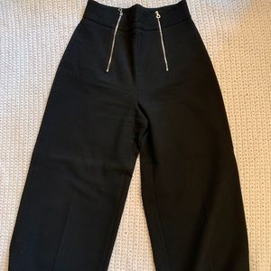 Cropped High Waisted Pans w Front Zip